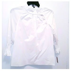 CARINE COTTON WHITE 3/4 SLEEVES TOP